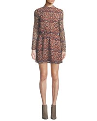 Cupcakes And Cashmere Malory Printed Tie Back Short Dress Multi