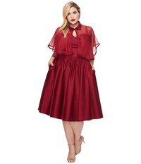 Unique Vintage Plus Size Luna Swing Dress Mesh Capelet Burgundy Women's Dress