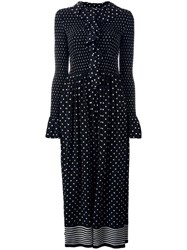 Stella Mccartney Ruched Neckline Dot Dress Black