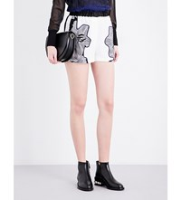 3.1 Phillip Lim Floral Print High Rise Silk Satin Shorts Blk Ant White
