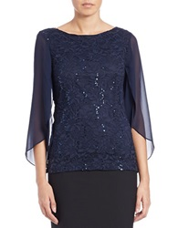 Marina Sequin Lace Top Navy