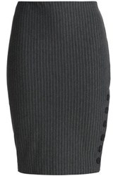 Bailey 44 Pinstriped Stretch Jersey Pencil Skirt Dark Gray