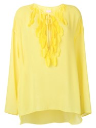 Giamba Feather Tassel Blouse Yellow