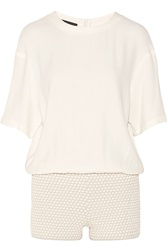 Jay Ahr Wool Blend Crepe And Honeycomb Knit Playsuit White