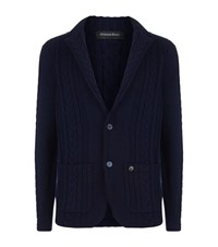 Stefano Ricci Cashmere Cable Knit Cardigan Navy
