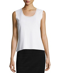 Ming Wang Studded Trim Scoop Neck Tank White