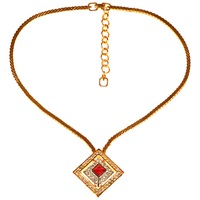 Alice Joseph Vintage 1980S Grosse Square Pendant Chain Necklace Gold Red