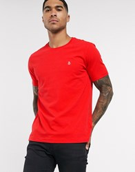 Original Penguin Pin Point Embroidered Logo T Shirt In Red