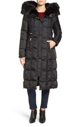 Via Spiga Women's Detachable Faux Fur Trim Hooded Long Down And Feather Fill Coat