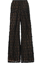 Alexis Hari Embroidered Tulle Wide Leg Pants Black