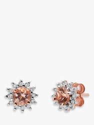 A B Davis 9Ct Rose Gold Morganite And Diamond Round Stud Earrings Pink