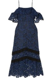 Rachel Zoe Poppy Cold Shoulder Guipure Lace Midi Dress Navy