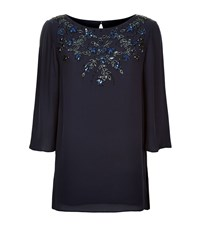 St. John Satin Crepe Beaded Tunic Top Female Blue