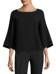 Lafayette 148 New York Fabiana Three Quarter Sleeve Blouse Black