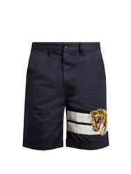 Gucci Tiger Applique Cotton Gabardine Shorts Navy