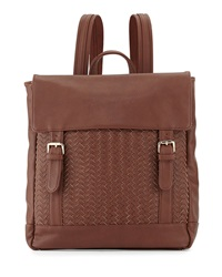 Neiman Marcus Woven Fold Over Backpack Cocoa