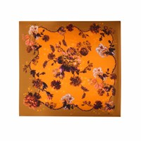 Klements Medium Scarf In Gothic Floral Print Ochre Yellow Orange