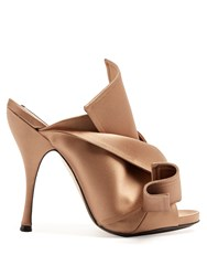 N 21 Bow Front Satin Mules Nude