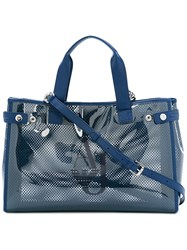 Armani Jeans Perforated Tote Women Plastic One Size Blue