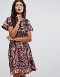 Trollied Dolly Paisley Skater Dress Navy Paisley