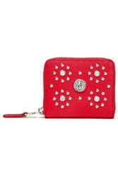 Versus By Versace Woman Studded Textured Leather Wallet Red