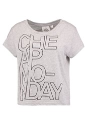 Cheap Monday Have Print Tshirt Warm Melange Mottled Grey
