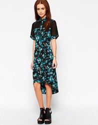 Influence Printed Shirt Dress With Mesh Insert Bluemulti