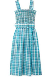 Nicholas Belted Shirred Checked Cotton Muslin Midi Dress Blue