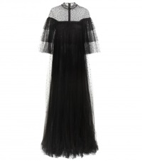 Valentino Crystal Embellished Tulle Gown Black