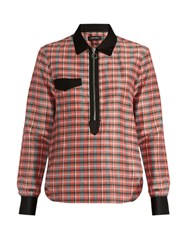 Isabel Marant Molan Contrast Collar Checked Shirt Pink Multi