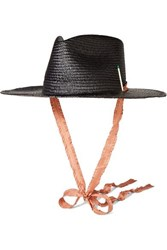 Nick Fouquet Brock Collection 1 Embellished Straw Fedora Black