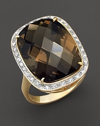Bloomingdale's Smoky Topaz And Diamond Ring In 14 Kt. Yellow Gold