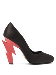 Prada Lightning Bolt Heel Satin Pumps Black Red
