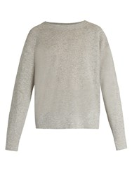 Vince Round Neck Cashmere And Linen Blend Sweater Light Grey