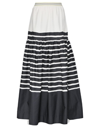 I'm Isola Marras Striped Cotton Poplin Long Skirt White Black