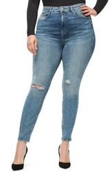 Good American Plus Size Legs Ripped High Waist Skinny Jeans Blue 185