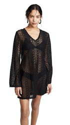 Kos Resort Long Sleeve Lace Cover Up Black