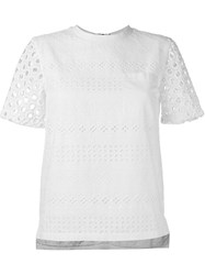 House Of Holland Broderie Anglaise Shortsleeved Top White