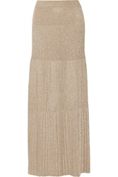 Missoni Pleated Metallic Crochet Knit Maxi Skirt Gold