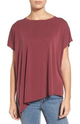 Bobeau Women's Asymmetrical Hem Tee Dark Wine