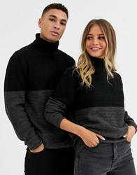 Another Influence Unisex Cut And Sew Roll Neck Cable Sweater In Gray