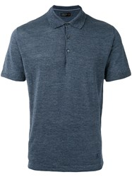 Corneliani Classic Polo Top Men Silk Linen Flax 52 Blue