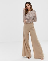 Maya Cape Detail Jumpsuit With Tonal Delicate Sequin Top In Taupe Blush Brown