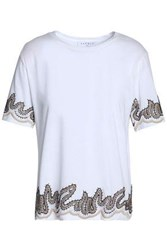Sandro Embroidered Cotton Jersey T Shirt White