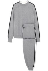 Olivia Von Halle Missy London Striped Silk And Cashmere Blend Sweatshirt And Track Pants Set Gray