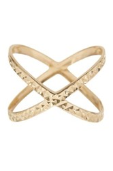 14K Yellow Gold Shiny Diamond Cut Fancy X Shape Ring Metallic