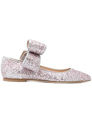 Polly Plume Bow Glitter Ballerina Shoes Calf Leather Leather Suede Pink Purple