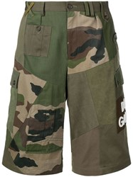Dolce And Gabbana Camouflage Panelled Cargo Shorts Green