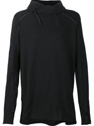 Transit Drawstring Funnel Neck T Shirt Black