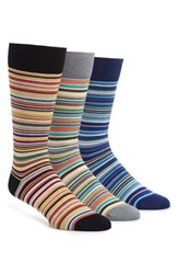 Ted Baker Paul Smith 3 Pack Stripe Socks Red Blue Multi